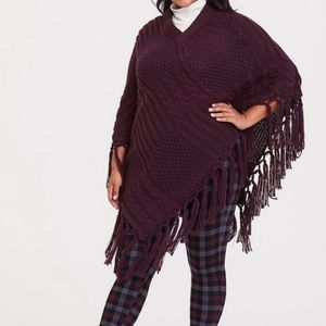 Torrid Cozy One Size Cable Knit Fringe Poncho